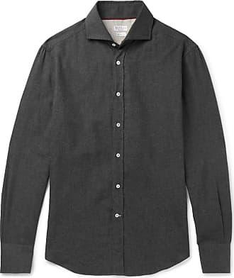 aa7dfab56b Brunello Cucinelli Slim-fit Cutaway-collar Cotton-flannel Shirt - Gray