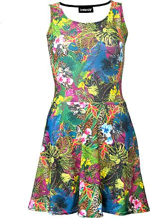 Insanity Tropical Floral Flowers Leaves Leopard Skin Animal Print Sleeveless Skater Dress (S/M)