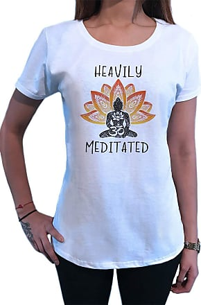 Irony Womens T-Shirt Heavily Meditated Meditation Yoga Peace Buddha Om Zen Print TS1628 White