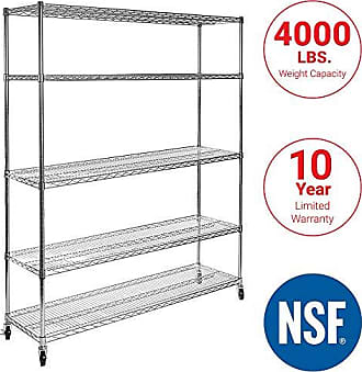 Seville Classics UltraDurable Commercial-Grade 5-Tier NSF-Certified Steel Wire Shelving with Wheels, 48 W x 24 D x 72 H, Chrome