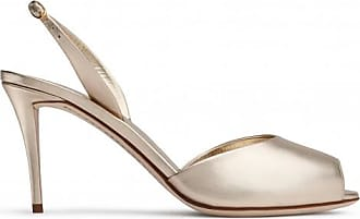 Giuseppe Zanotti 80 mm platinum gold sand leather sandals with ankle strap FLORENCE