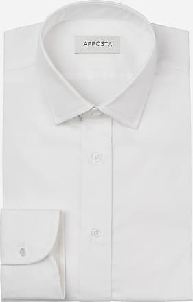 Apposta Camicia tinta unita bianco cotone stretch anti-macchia popeline doppio ritorto oekotex, collo stile italiano aggiornato