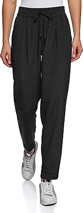 oodji Collection Womens Lightweight Trousers in Flowing Fabric, Black, UK 16 / EU 46 / XXL