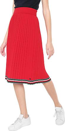 Tommy Hilfiger Saia Tommy Hilfiger Midi Jessah Swtr Skirt Vermelha