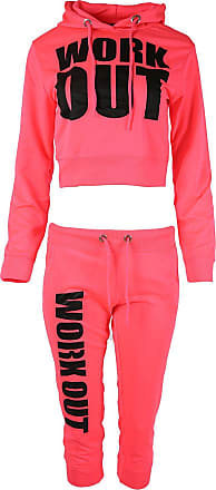 Parsa Fashions Womens Ladies Work Out Print Cropped Belly Hoody Sweatshirt Top Joggers Bottoms Tracksuit 2 Piece Set Gym Running Top Bottoms X-Small to Large