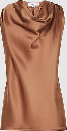 Reiss Lita - Bow Detail Satin Top in Rust, Womens, Size 10