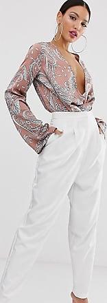 Asos Tall ASOS DESIGN Tall - Weiße Hose im betonten Karottenschnitt im Stil der 80er Jahre