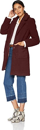 French Connection Womens 3/4 Faux Shearling Coat Fur, Wine, Small