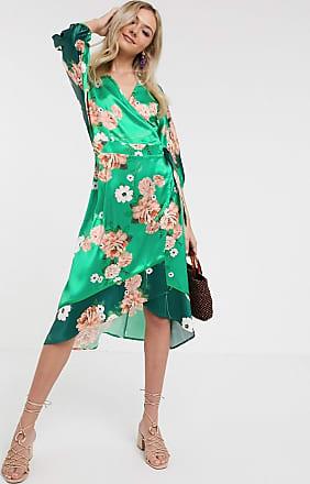 Liquorish Vestito midi a kimono in raso verde a fiori
