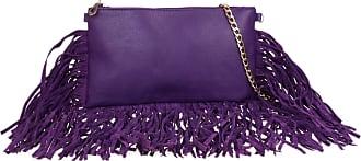 Girly HandBags Girly HandBags Faux Leather Tassels Clutch Bag Zipped Handbag Shoulder Chain Elegant Evening Fashion Womens - Purple