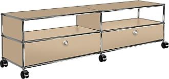 USM TV/Hi-Fi Sideboard mit 2 Schubladen unten - USM beige/152x37x43cm/mit Rollen