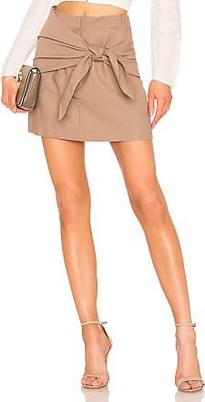 Tibi Removable Tie Mini Skirt in Brown