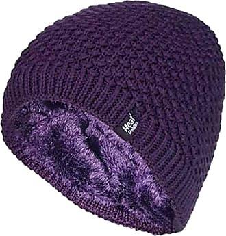 Heat Holders Ladies Crochet Knit Style Fleece Lined Warm Thermal Winter Beanie Hat (One Size, Purple (Nora))