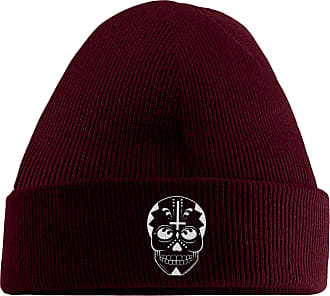 HippoWarehouse Day of The Dead Skull 2 Embroidered Beanie Hat Maroon