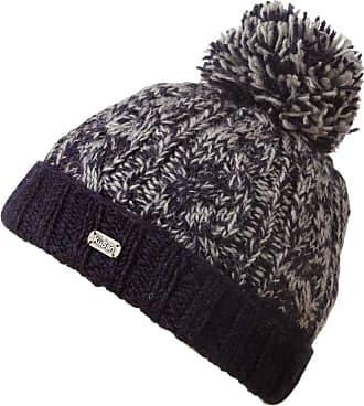 KuSan 100% Wool Chunky Knit Turn Up Bobble Beanie Hat (PK1728) (Navy)