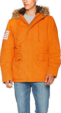 Brandit Mens Vintage Explorer Stars + Stripes Parka, Orange (Orange 48), Medium