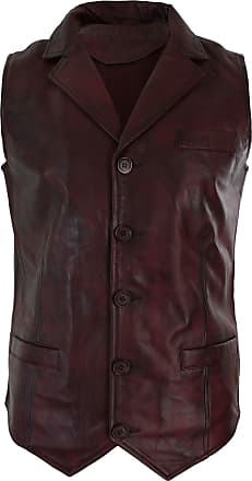 Infinity UCLASS : Mens Real Leather Tan Brown Black Burgundy Smart Casual Gilet Waistcoat Vintage Retro