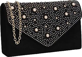Swankyswans Laurel Pearl   Diamante Womens Suede Wedding Party Clutch Bag  Black 1085fd763e2a7