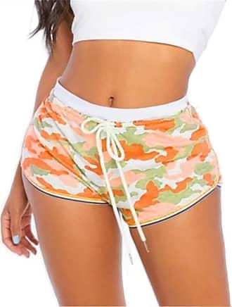 QIYUN.Z Women Causal Camouflage Print Shorts Cotton Soft Cozy Elastic Skinny Patchwork Shorts Orange 2XL