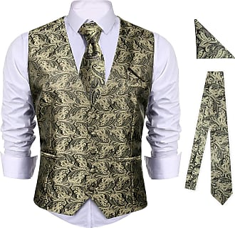iClosam Mens 5-Buttons Floral Jacquard Waistcoat&Necktie Pocket Square Paisley Vest Suit Set (Yellow, XL)