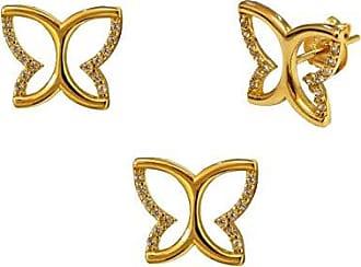 Prado Joias Conjunto Em Ouro 18k Borboleta Com Zircônias