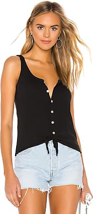 Chaser Button Down Tie Front Tank in Black