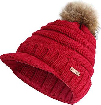 JERFER Women Warm Winter Knit Ski Beanie Skull Slouchy Caps Hat Wine