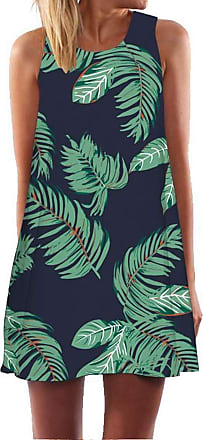 Ocean Plus Womens Summer Casual Top Flamingo A-Line Sleeveless Dresses Leaves Cover-up Western Without Sleeves Beach Dress Party Dress (XXL (UK 16-18), Green Lea
