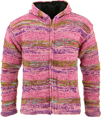 Loud Elephant Space Dye Chunky Wool Knit Ribbed Hooded Cardigan Jacket - Pink (XX-Large)