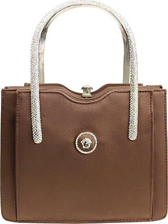 6f3fe7b163e5 Versace Couture Brown Satin Rhinestones Medusa Handbag