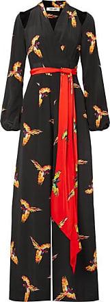 Diane Von Fürstenberg Cutout Belted Printed Silk Crepe De Chine Jumpsuit - Black