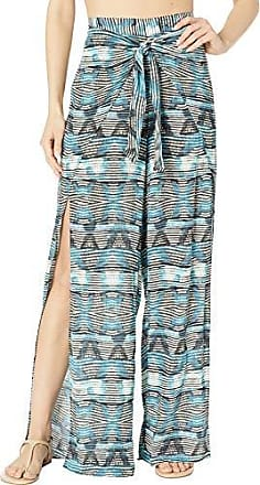 La Blanca Womens Tie Front Side Slit Pant Swim Cover-Up, Blue, XL