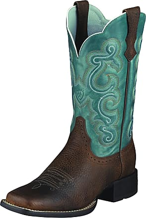 Ariat Womens Quickdraw Western Boots in Brown Oiled Rowdy Leather, B Medium Width, REGULAR Calf, Size 3.5, by Ariat
