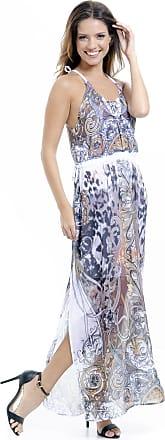 3a31d7b9aa 101 Resort Wear Vestido Longo 101 Resort Wear Crepe Estampado Oncinha Marrom