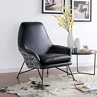 New Pacific Direct 4500019 Vasco PU Leather/Fabric Accent Chair Furniture Black/Midnight Flora