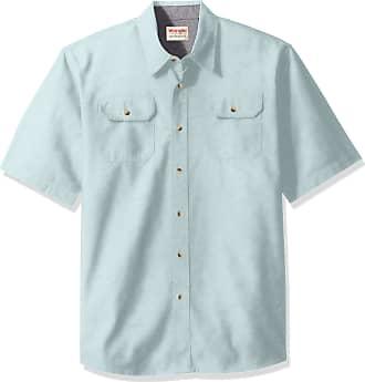 Wrangler Mens Short-Sleeve Classic Woven Shirt Short_Sleeve Button-Down Shirt - Blue
