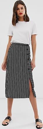Warehouse stripe button side midi skirt-Multi