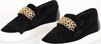 Giuseppe Zanotti Suede Slip On Sneakers with gold tone Chain size 35,5