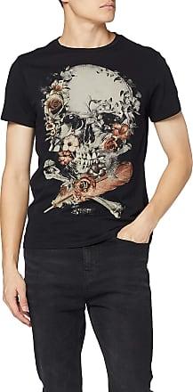 Religion Mens Roses Skull Straight Hem TEE T-Shirt, Black (Black 001), X-Large (Size:XL)