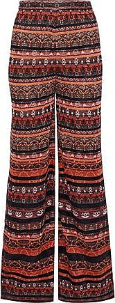 M Missoni M Missoni Woman Metallic Crochet-knit Wide-leg Pants Bright Orange Size 42