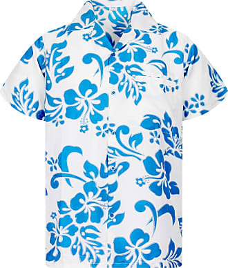V.H.O. Funky Hawaiian Shirt, Hibiscus, Turquoise on White, 6XL