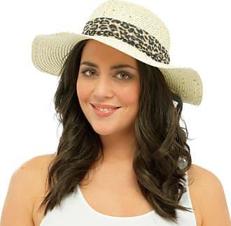 Tom Franks Ladies Sequin Hat Turn Up Leopard Print Ribbon Bow Summer Paper Dress Straw S/M
