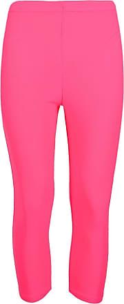 The Celebrity Fashion Ladies Girls Quality Jersey Soft Stretch Plain 3/4 Under Knee Crop Leggings Neon Pink