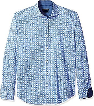 f510b5b01b9d Bugatchi Mens Cotton Print Slim Fit Short Sleeve Point Collar Shirt Sports  Apparel