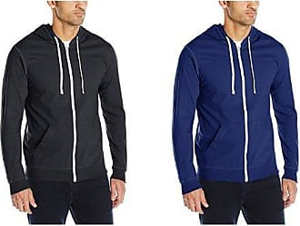 Fruit Of The Loom Mens Jersey Full-Zip Hood,Black, 2XL with Admiral Blue, 2XL