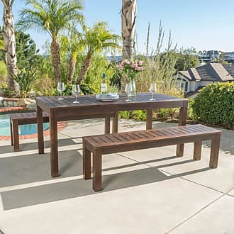 BEST SELLING HOME Outdoor Maycon Acacia Wood 3 Piece Table Set with Benches - 299827