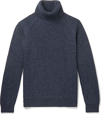 Incotex Ribbed Mélange Virgin Wool Rollneck Sweater - Blue