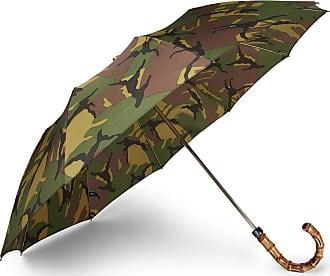 London Undercover Camouflage-print Wood-handle Telescopic Umbrella - Green