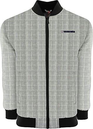 Lambretta Bomber Jacket Mens Fashion Over Coat Grey Black Plaid Prince of Wales UK S-4XL (UK 4X Large, Grey/Black)