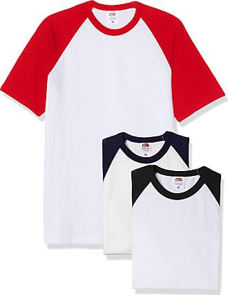 Fruit Of The Loom Mens Baseball Classic Short Sleeve T-Shirt Pack of 3, White Black/White Navy/White Red, XX-Large